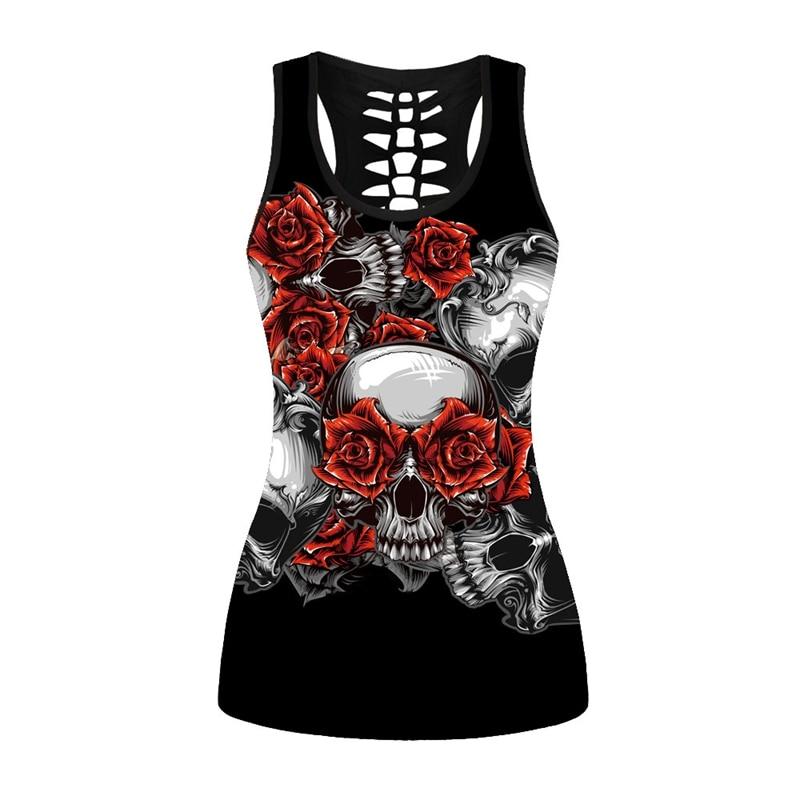 Wholesale Price Skull Floral Rose 3D Print Women Black Sweatshirt Vest 2018 Summer Sexy Harajuku Goth Tank Tops