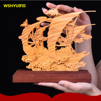 Wooden antique sailing boat home decoration office decorations wood carving crafts mascot