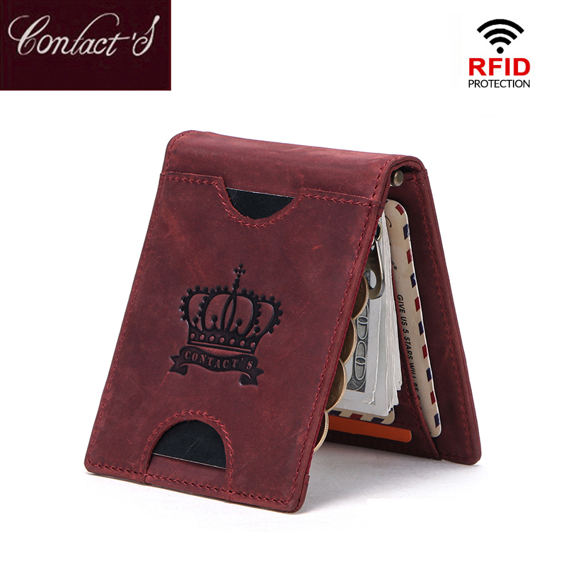 Contact's Brand Designer Crazy Horse Cowhide Leather Women Purse Billfold Wallet Man Slim Money Clip Female Clamp For Money Case