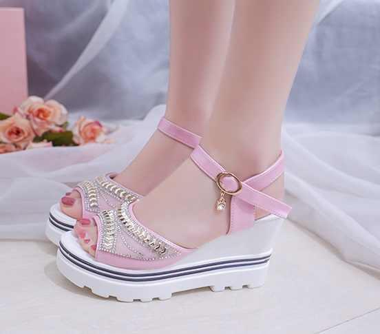 2019New נשים קיץ סנדלי עבה העקב פלטפורמת טריזי סנדלי סקסי ואגלי כפכפים Sandalias שקופיות לבן שחור גבוהה נעליים