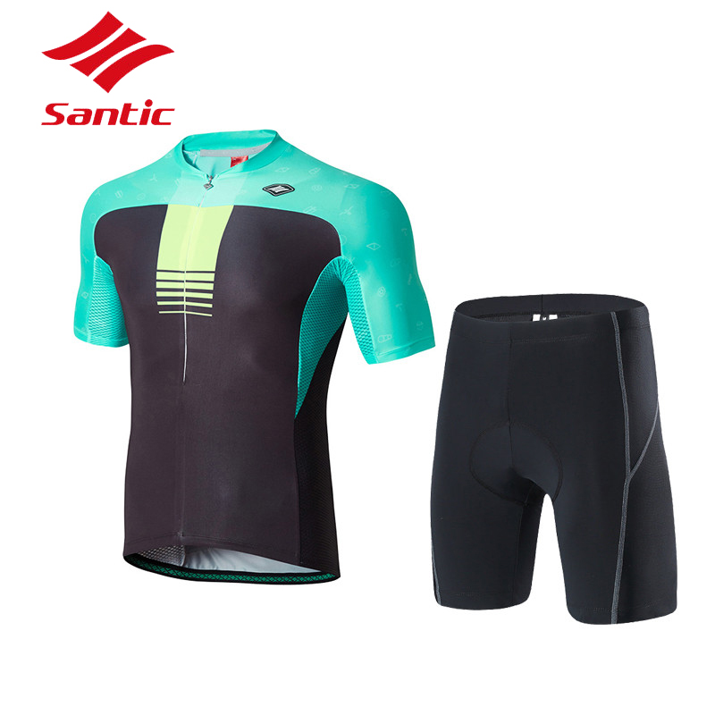 Santic Pro Team Cycling Jersey Set Men Summer 4D Gel Pads Breathable Bike Bicycle Suits Quick Dry Downhill Clothes Ropa Ciclismo veobike winter thermal brand pro team cycling jersey set long sleeve bicycle bike cloth cycle pantalones ropa ciclismo invierno