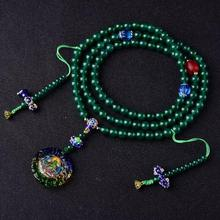 מעצב טיבטי Mala בודהיסטי ירוק טרת תפילת חרוזים טיבטי 108 חרוזים Mala בודהיסטי מחרוזת חרוזים