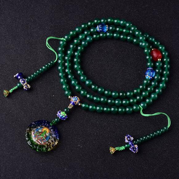 Tasarımcı tibet Mala budist yeşil Tara tespihler tibet 108 boncuk Mala budist tespih boncuk