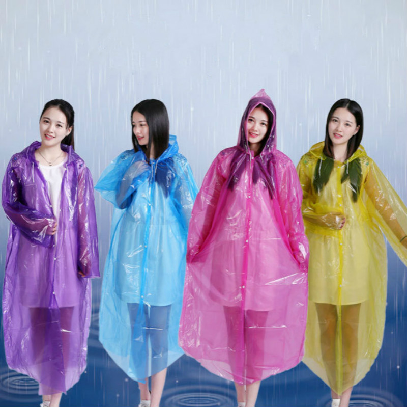 Hot Outdoor Hiking Long Style Backpack Thickened Transparent Rain Cape Adult One-piece Raincoat Convenient To Cook Trainning & Exercise Jackets
