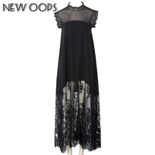 NEW OOPS Fashion Lace Party Long Dress 2017 Women Spring Black Sexy Chiffon Sleeveless Elegant Dresses Female Vestido A1611038(China)