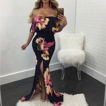 JIMMYHANK Women Summer Spring Slash Neck Off Shouder Ruffles Mermaid Floor Length Bodycon Dress