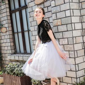 Image 2 - 5Layers 65cm Summer vintage skirts women Elastic High Waist tulle mesh Petticoat Pleated tutu skirt women Saias midi faldas jupe