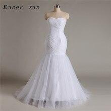 In 2017 new mermaid wedding dress sexy white gauze fold court custom Vestido De Noiva training