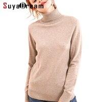 Women Pullovers 100%Merino Wool Turtleneck Sweater 2018 FALL Winter Wool Sweater For Women Khaki Black White Knitwear