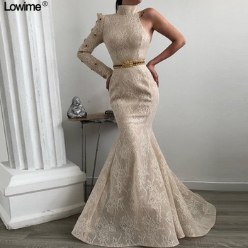Newest Vintage Ivory Lace Evening Dresses Mermaid Long Muslin High Neck Sleeves Formal Gowns With Sashes Custom