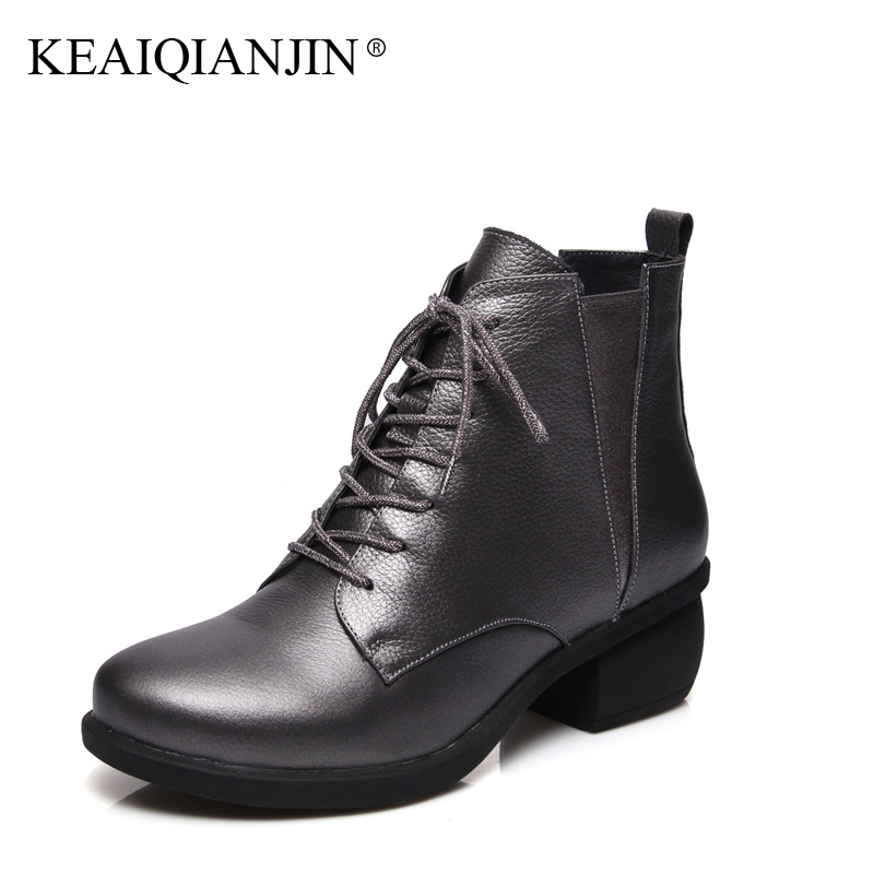 KEAIQIANJIN Woman Lace Up Ankle Boots Plus Size 34 - 44 Autumn Winter Shoes Black Red High Heels Genuine Leather Martens Boots толстовка gap gap ga020emtlv27