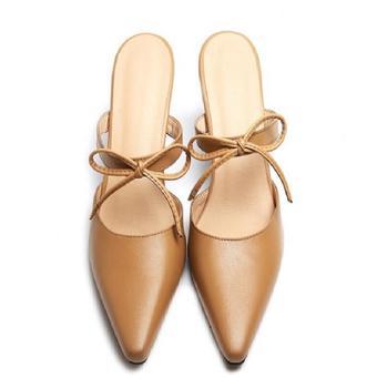 Not Sexy Retro White/ dark khaki Genuine Leather shoe pointed toe Thin Heel Women's shoe Butterfly -Knot Slip-on Women's Sandals