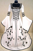 New  Muslim White Black Medieval Wedding Dresses 2017 Long Flare Sleeves 3D Flower Ball Gown Bridal Gown Robe De Mariage