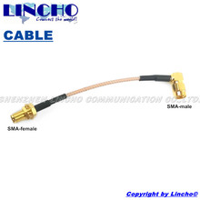 10 pcs sales 10cm SMA female to rgiht angle SMA male connector RG316 pigtail jumper cable