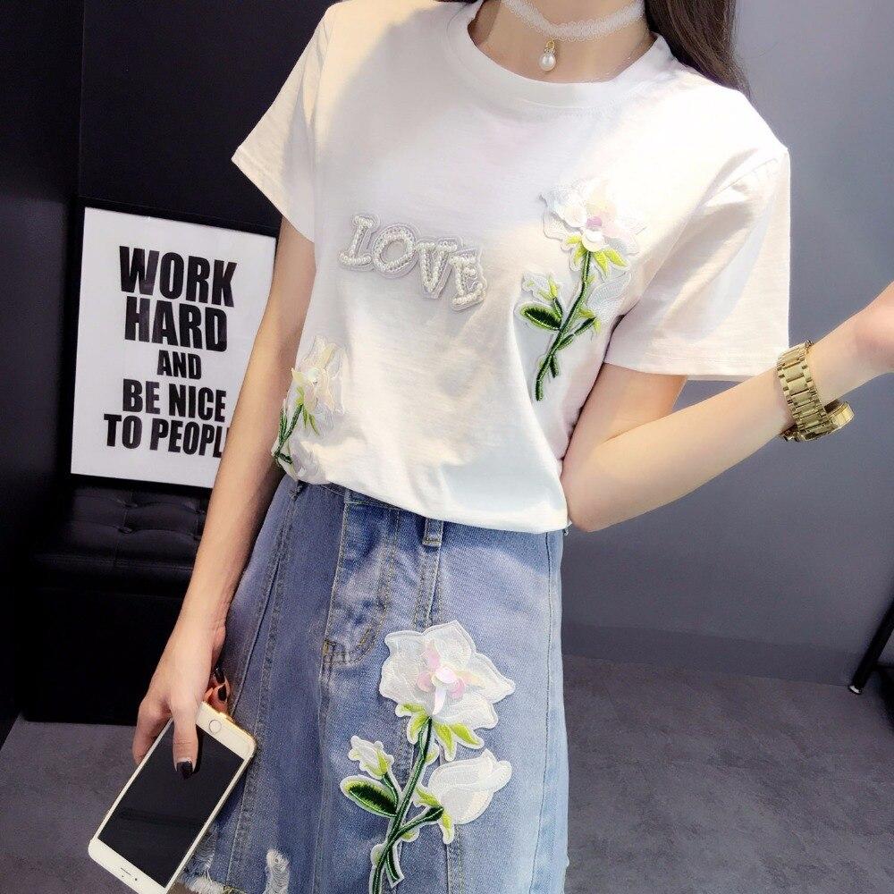 2018 ensemble deux pièces été nouveau Rose fait à la main lettre pailletée t-shirt + A-en forme de fleurs porté jupe en denim deux pièces tenues 171