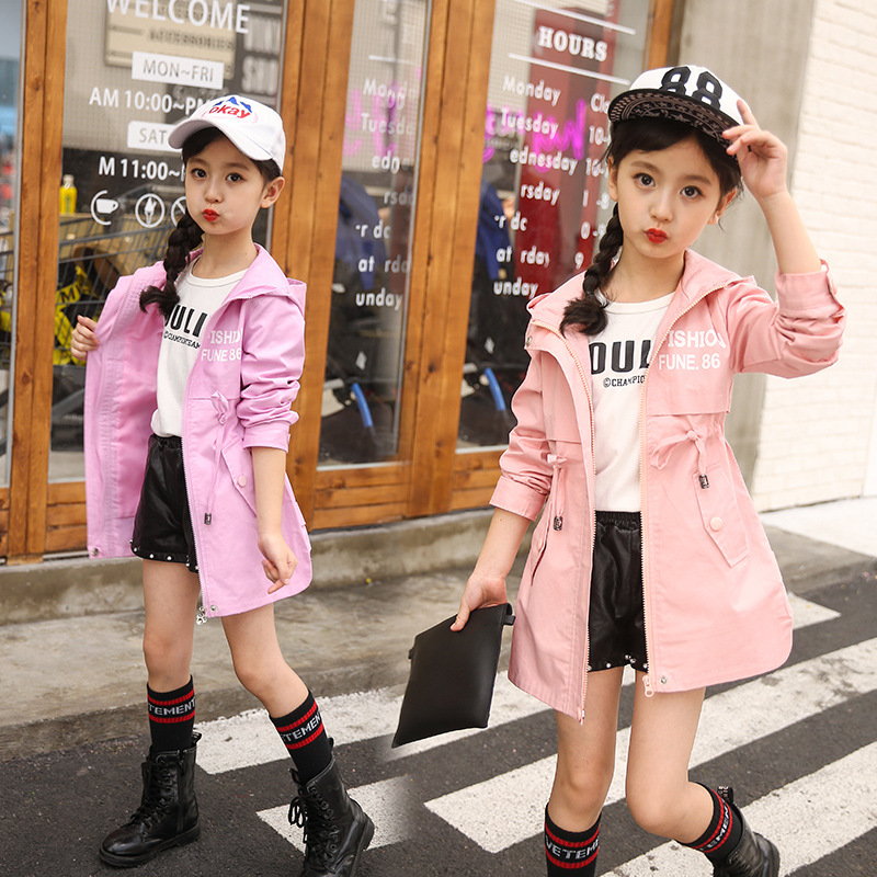 Children Clothing Baby Girls Clothing 2018 Spring and Autumn New Leisure Girls Coat Letter Movement, Hooded WindbreakerJackets & Coats   -