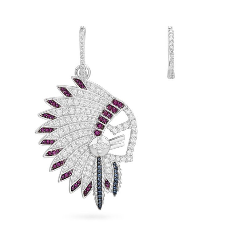 SLJELY Real 925 Sterling Silver Asymmetric Indian Chief Feather Earrings Zirconia Stones Women Monaco May Meteorites