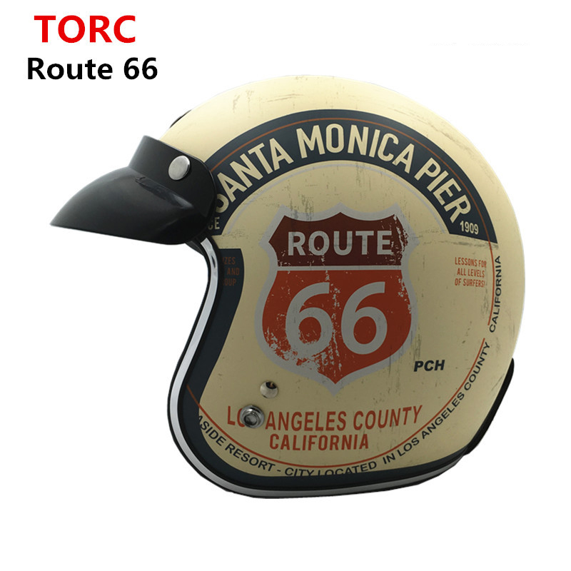 Motorcycle helmet Jet Pilot Helmets TORC Route 66 For Vintage Scooter retro casco MTB capacete Motorcycle