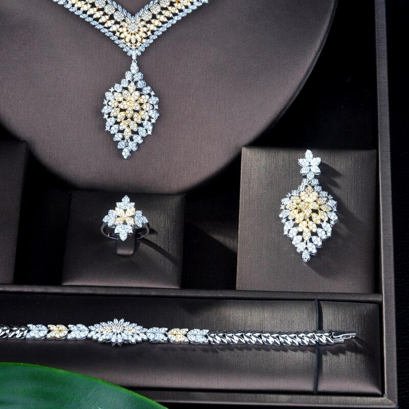 HIBRIDE Unique luxe pendentif Double ton Dubai bijoux ensemble CZ boucles d'oreilles collier femmes mariée bijoux ensemble fête cadeaux N-899 - 5