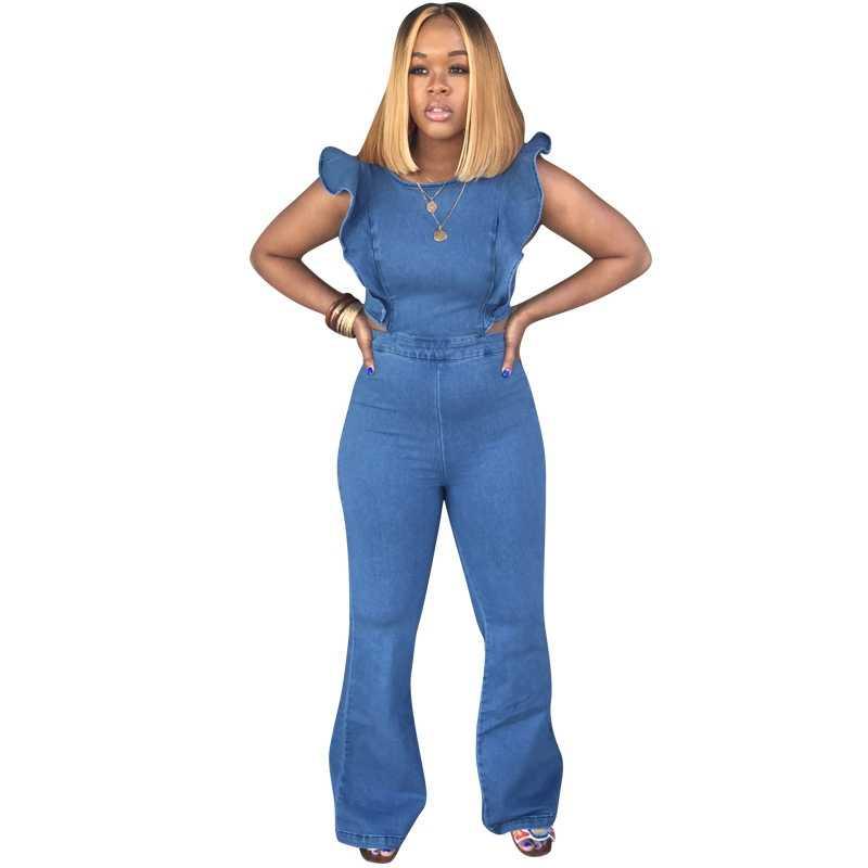 Пикантные джинсовые комбинезон женщин джинсы женские Летние Комбинезоны Длинные клеши комбинезон без рукавов комбинезон с оборками для клуба, для вечеринки, комбинезон