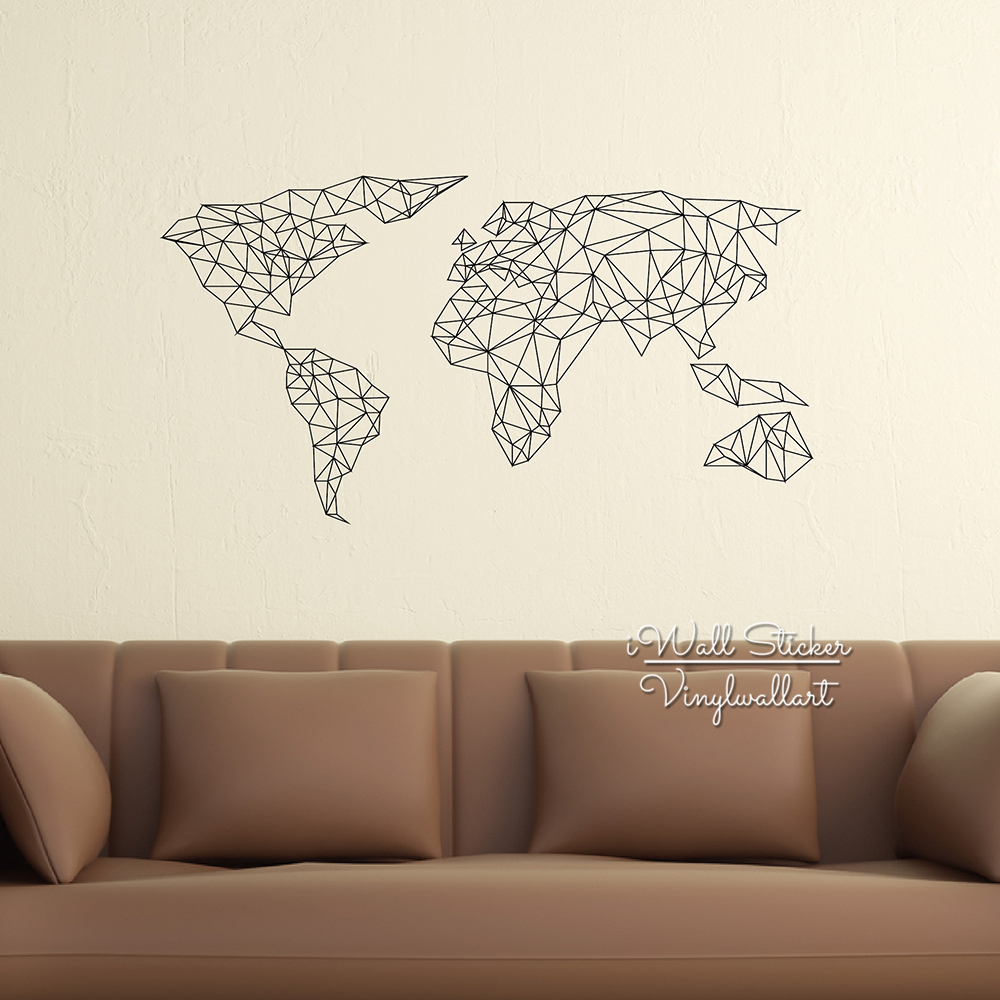 Aliexpress buy geometric map of the world wall sticker world aliexpress buy geometric map of the world wall sticker world map wall decal modern living room wall decor home improvement cut vinyl m67 from reliable amipublicfo Image collections