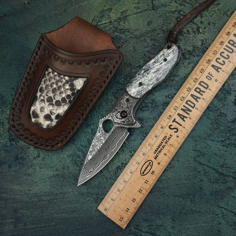 TUREN Damascus Steel Pocket Knife ox bone Handle Tactical Folding Knives Outdoor Survival EDC Tools Collection