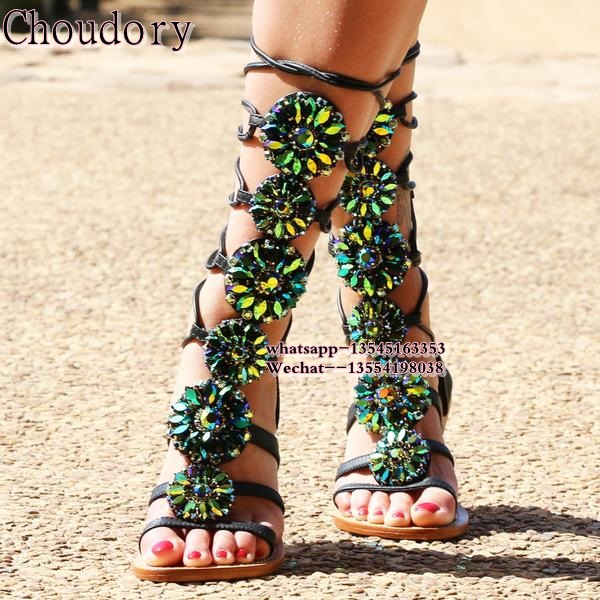 купить Luxury Rhinestone sandals woman Crystal Gladiator Sandal women Knee High boots Snake Flat ROME shoes Women Summer Shoes по цене 5692.07 рублей
