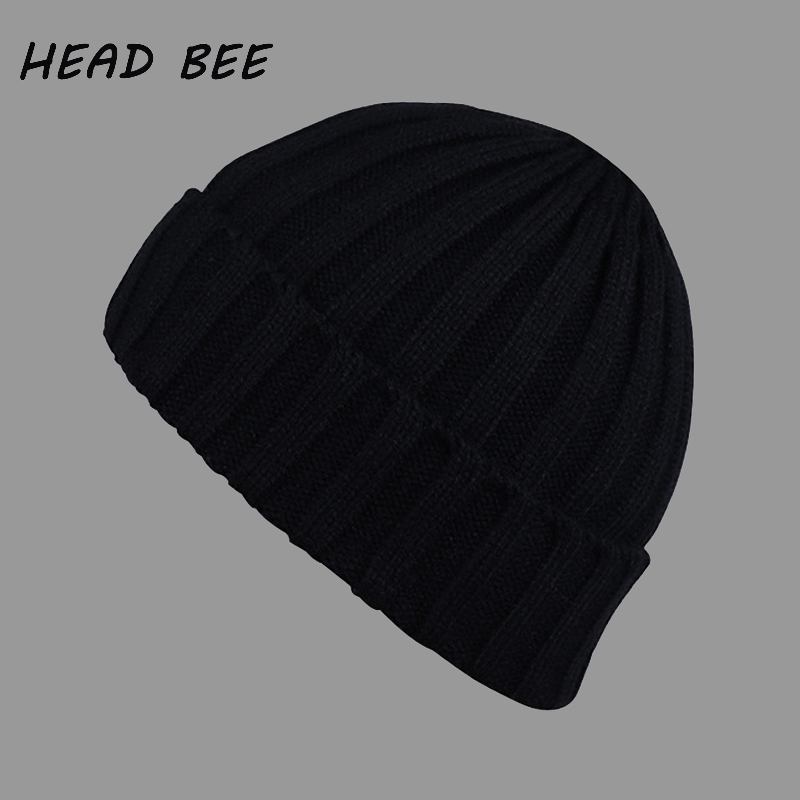 [HEAD BEE] Fashion Beanies Knitted Hat Cotton Adult Warm Winter Cap Candy Skullies Lady Bonnet Hat for Women and Men skullies 2017 fashion new arrival indian yoga turban hat ear cap sleeve head cap hat men and women multicolor fold 1866688