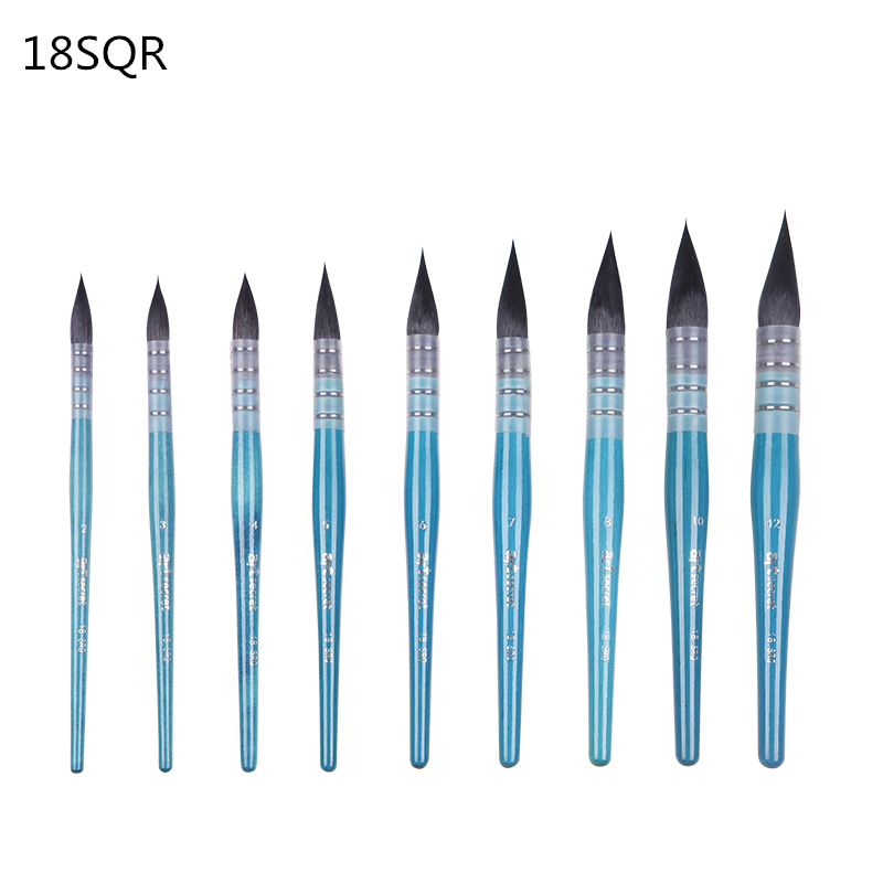 18SQR Round High Quality Squirrel Hair Wire Twisted Wooden Handle Watercolor Paint Brushes Art Supplies Artist Brush