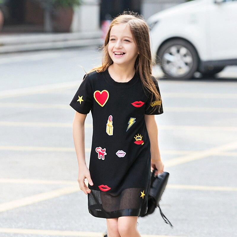 Girls Summer Dress 2017 Big Children Short-sleeved Teen Girl Dresses Cute Patch European American Style Black Dress 7-15y FD033