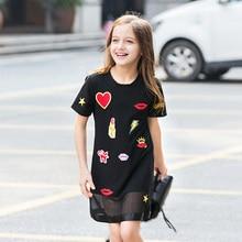 цены Girls Summer Dress 2017 Big Children Short-sleeved Teen Girl Dresses Cute Patch European American Style Black Dress 7-15y FD033
