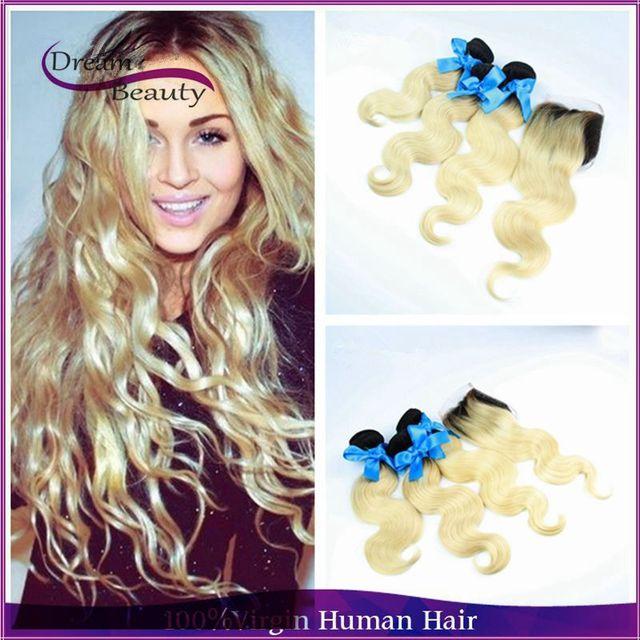 Brasileiro virgem cabelo 3 pcs bundles com fechamento raízes escuras loira dois tons ombre cabelo humano 613 loira virgem cabelo com fechamento