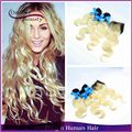 Brazilian virgin hair 3pcs blonde bundles with closure dark roots two tone ombre human hair 613 blonde virgin hair with closure