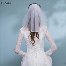 1 Layer white Ivory Shoulder Length Satin Ribbon Edge Wedding Bridal Veil with Comb