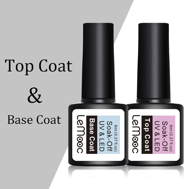 LEMOOC 8ml Top Base Coat Soak Off Nail Gel Foundation For UV LED  Gel Varnish No Wipe Transparent Nail Art varnish 2
