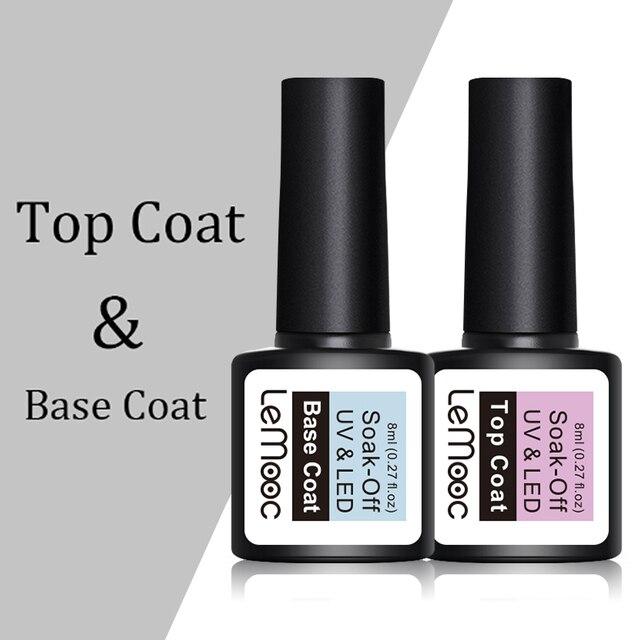LEMOOC 8ml Top Base Coat Soak Off Nail Gel Foundation For UV LED Primer Gel Varnish No Wipe Transparent Nail Art Lacquer
