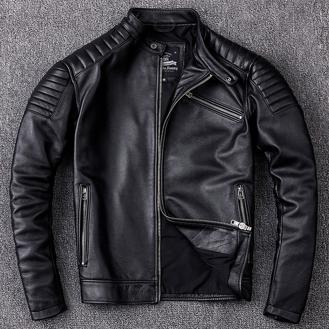 Free shipping,Brand new cowhide clothing,man's 100% genuine leather Jackets,fashion vintage motor biker jacket.cool warm coat 1