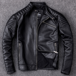 Image 2 - Free shipping,Brand cowhide clothing,mens genuine leather clothes,fashion vintage motor biker jacket.cool warm coat,quality