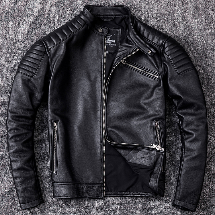 Image 2 - Free shipping,Brand new cowhide clothing,man's 100% genuine leather Jackets,fashion vintage motor biker jacket.cool warm coat-in Genuine Leather Coats from Men's Clothing