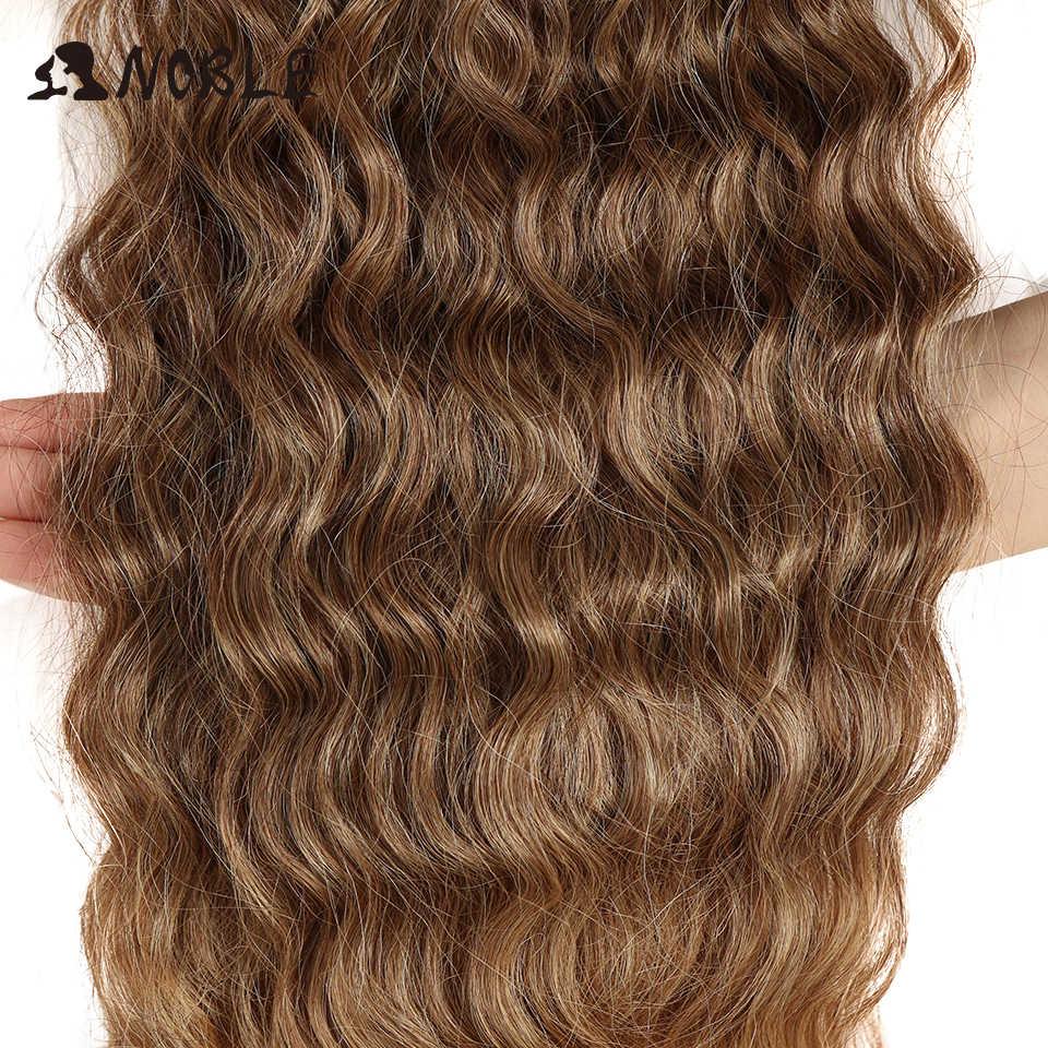 """Noble Kinky Krullend Ombre Haar Bundels Synthetisch Haar Super Lange Krullen 1 Pcs 28 """"-32"""" Blond Bruin bundels Met Hair Extensions"""