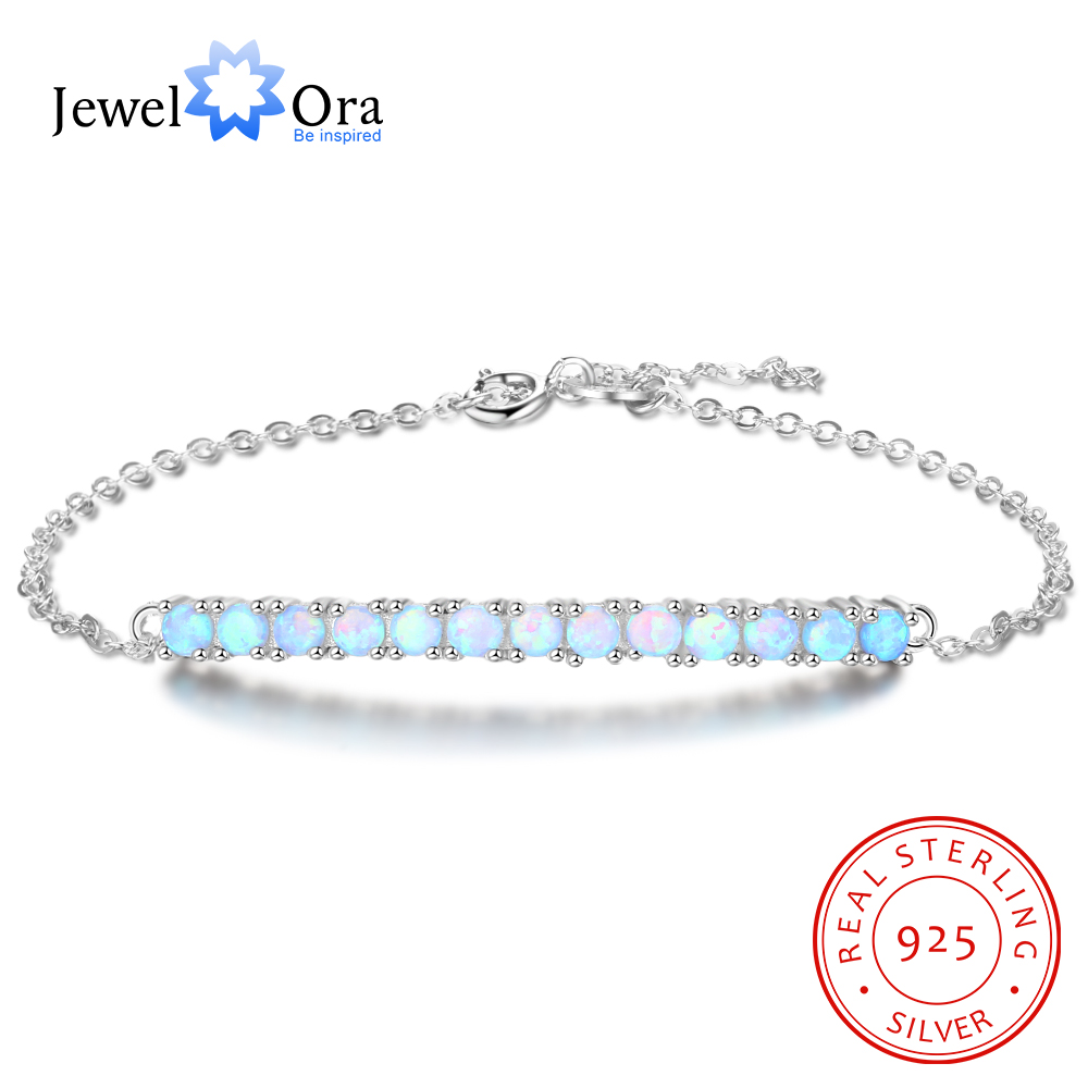 A Row Of Blue Opal Stone Bracelets & Bangles 925 Sterling Silver Bracelets For Women Fashion Party Jewelry (JewelOra BA102110)