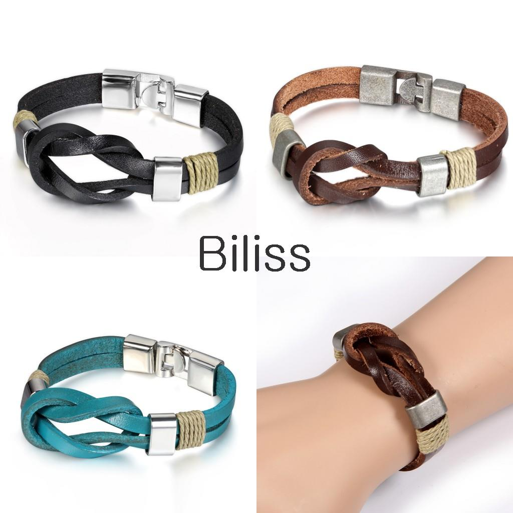 Biliss 21cm New Tribe Genuine Leather Infinity Bracelets Wholesale Cuff  Wrap Bracelet & Bangles For Men