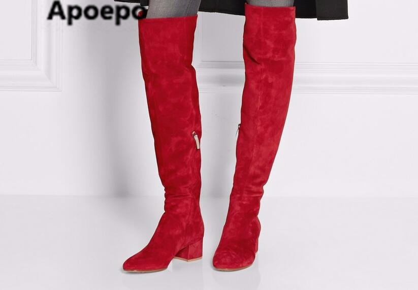 Apoepo brand Autumn Newest Red Suede Round Toe Over The Knee Boots 2017 winter Thick Heels Woman Fashion Boots Winter Long Boots 2016 autumn winter hot selling royal blue suede over the knee high heel boots round toe thick heels high boots for woman
