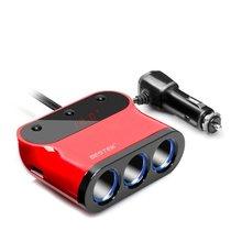 BESTEK Автомобильное Зарядное Устройство 3.1A/120 Вт Dual USB Автомобильное Зарядное Устройство Адаптер 3 Гнездо Автомобильного Прикуривателя Адаптер Разветвитель встроенный Предохранитель Автомобильная Пробка