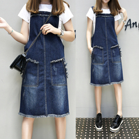 5xl Strap Denim Dress Female A2956