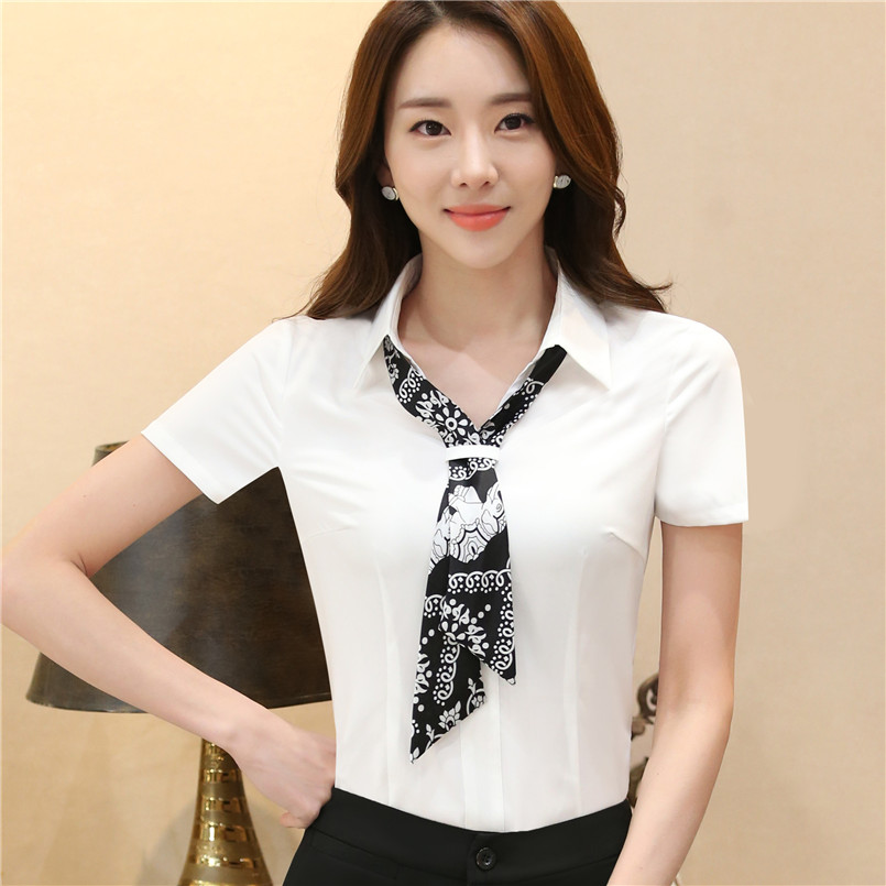 b01b7caa2701 2017 New elegant women chiffon scarf collar blouses short sleeve slim  office ladies summer blouse roupa feminina work plus size -in Blouses    Shirts from ...