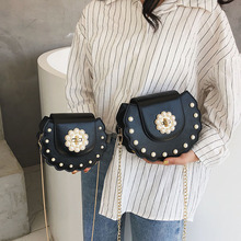 Bag for Women 2019 Fashion Leather Solid Pearl Sweet Girls Handbags Mini Chains Bag Party Purse Women Crossbody Messenger Bags chains color block mini crossbody bag