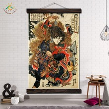 Traditional Japan Samurai Modern Wall Art Print Pop Posters and Prints Scroll Canvas Painting Pictures for Living Room