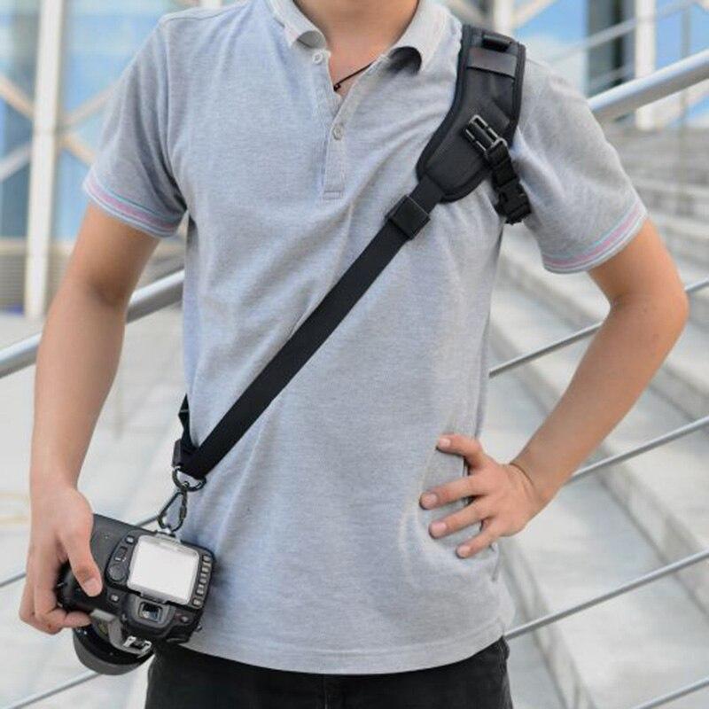 Quick Rapid Single Shoulder Sling Belt Neck Strap Black Adjustable For Camera SLR DSLR -Drop