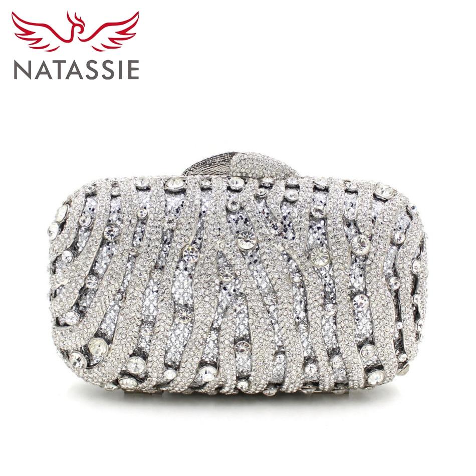 Natassie día embrague bolso de noche de cristal de lujo famoso diseño de la boda